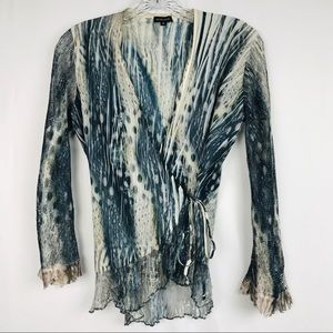 Komarov Crushed Sheer Laced Sleeve Wrap Top Small